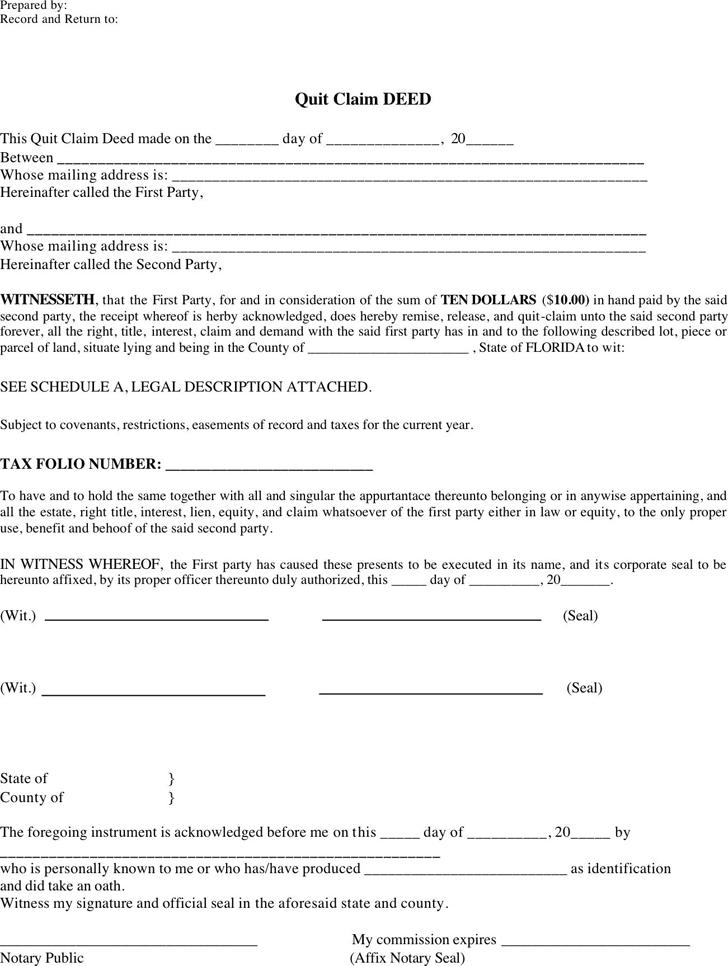 Quit Claim Deed Form | Free Florida Quitclaim Deed Form Pdf 3007kb 2 Page S