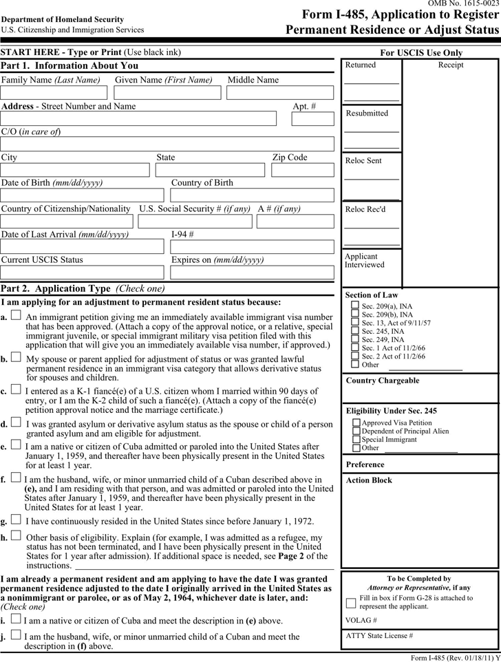 Form I 485 Template Free Download Speedy Template