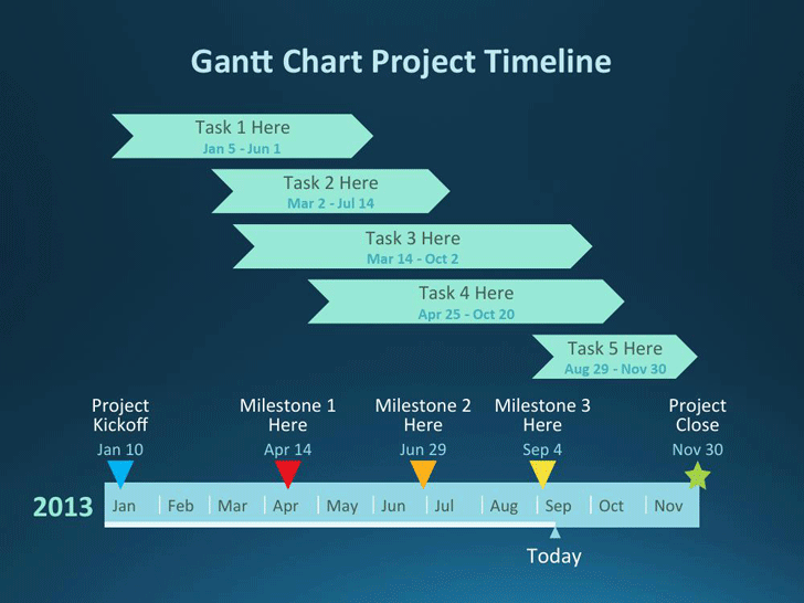 Free Gantt Chart Project Template For Powerpoint Pptx 830kb 4