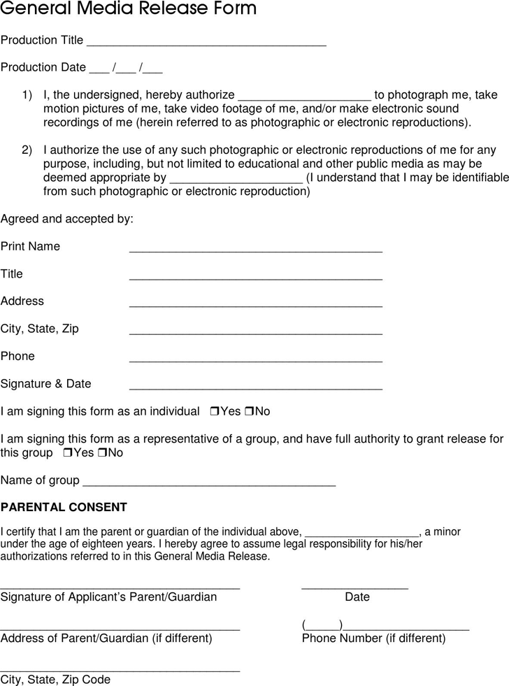general media release form 1