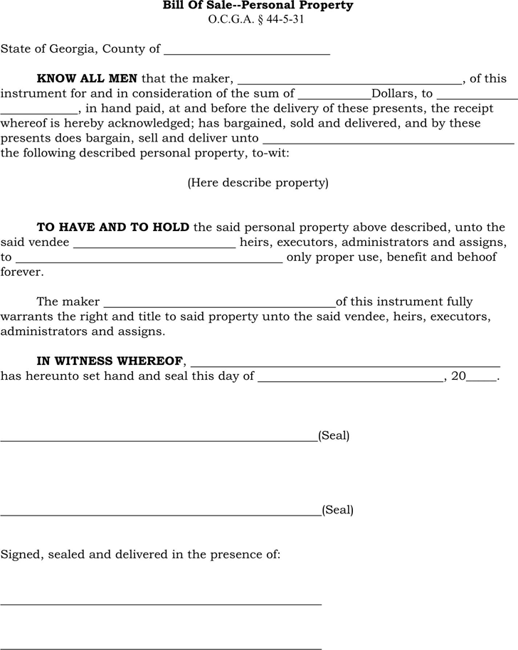 personal property bill of sale pdf