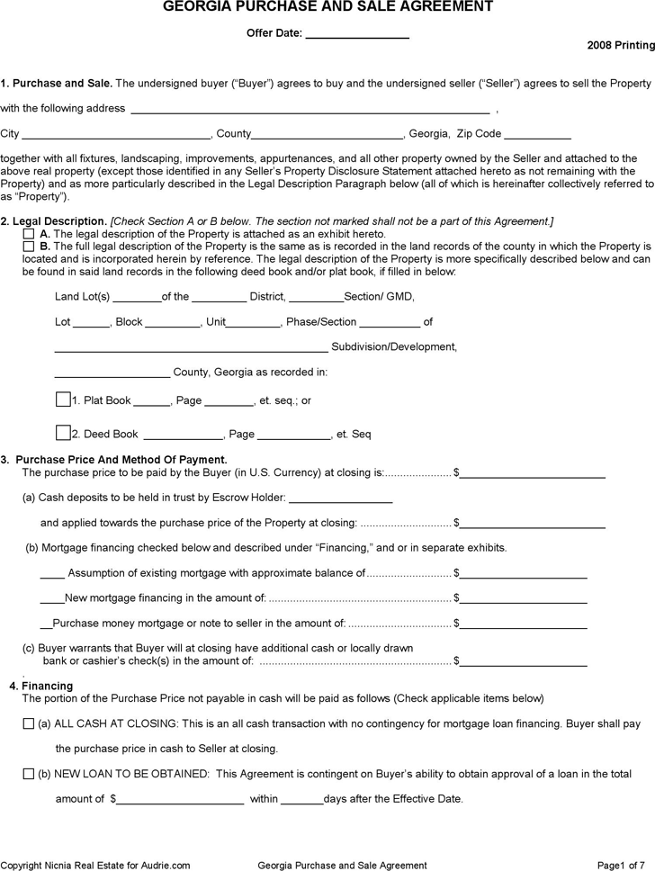 Georgia Purchase And Sale Agreement Form