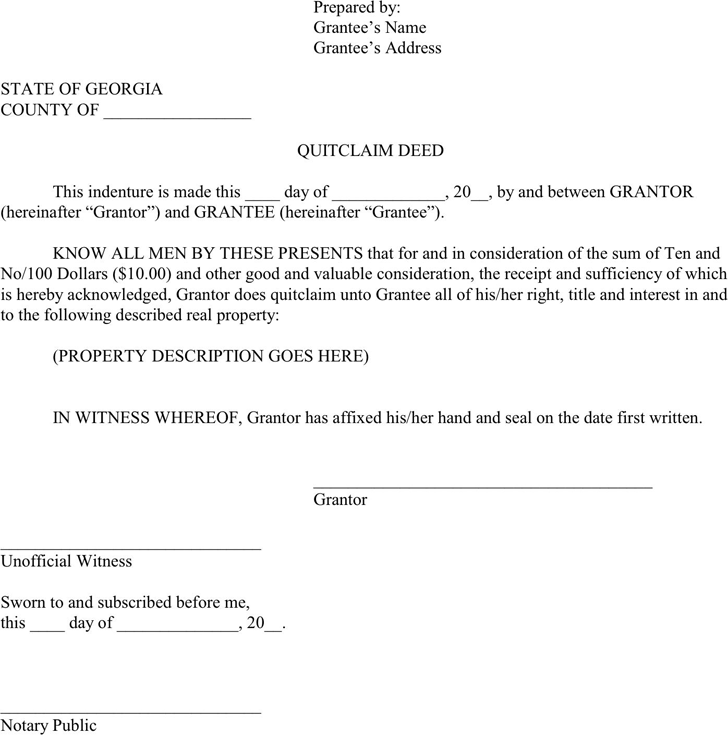 Free Georgia Quitclaim Deed Form Pdf 39kb 2 Page S