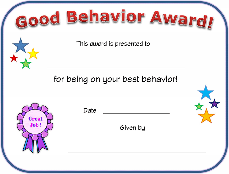 Certificates For Kids. Good Behavior Certificate