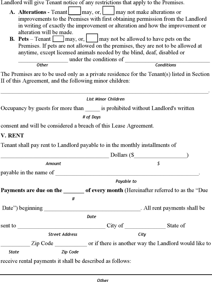 hawaii month to month lease agreement form - Month To Month Rental Agreement Form
