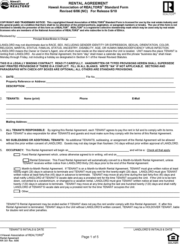 Free Hawaii Residential Lease Agreement Form Pdf 122kb 5 Pages