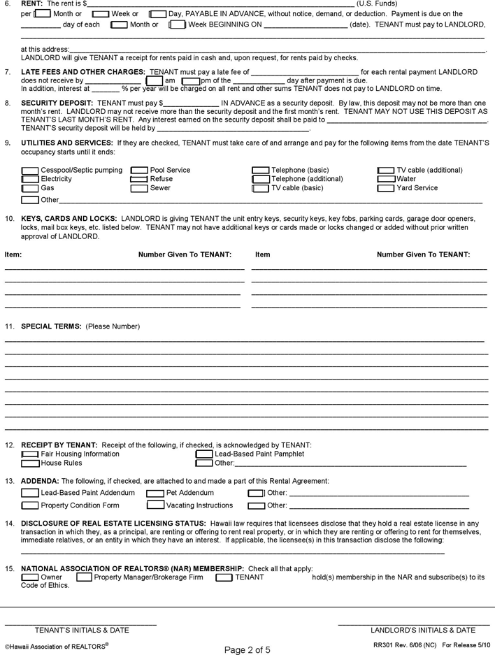 Free Hawaii Residential Lease Agreement Form Pdf 122kb