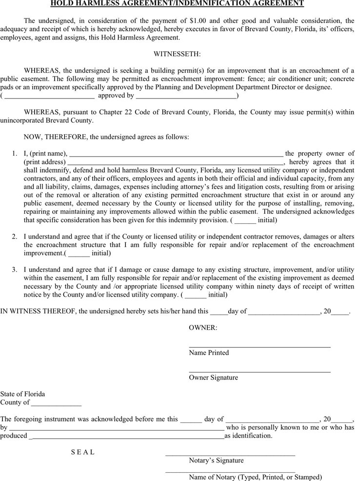 Hold Harmless Agreement Template Free Download Speedy Template