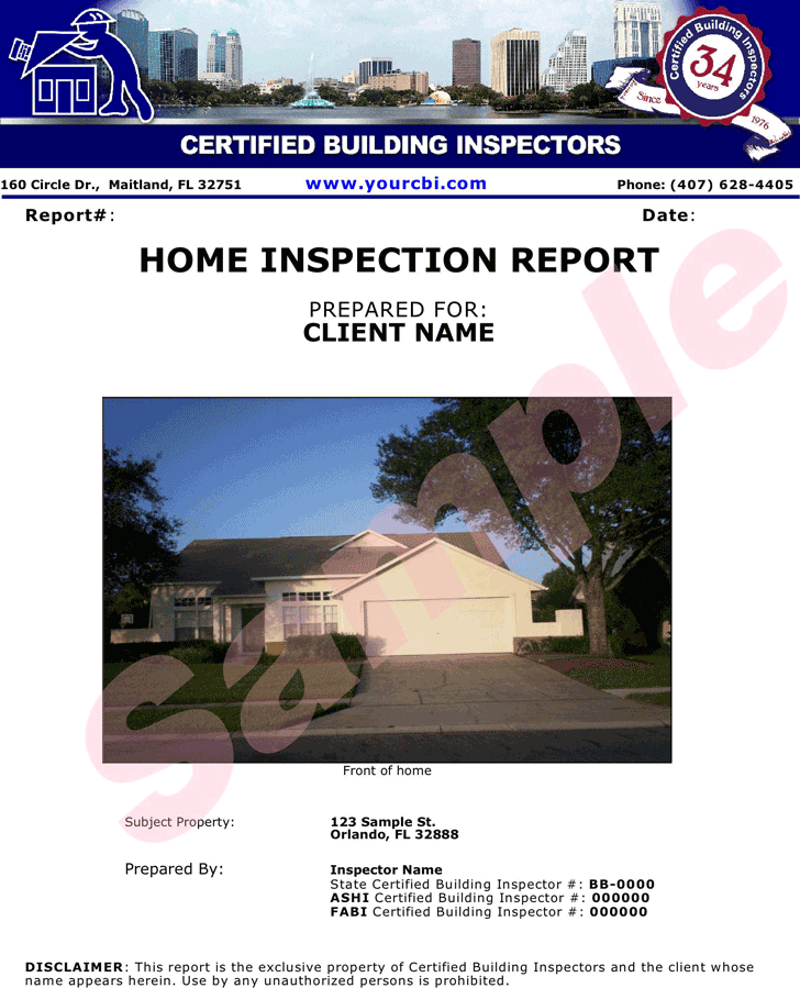 Free Home Inspection Report Sample Pdf 2834kb 12 Page S