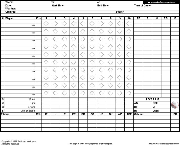Baseball Score Sheet Template Free Download Speedy Template