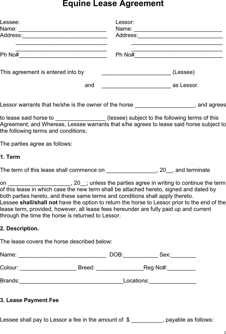 Horse Lease Agreement 1  Agreement Template Free