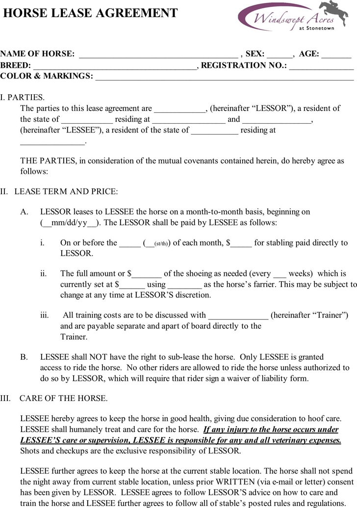 Horse Lease Agreement Template Free Download – Horse Lease Agreements