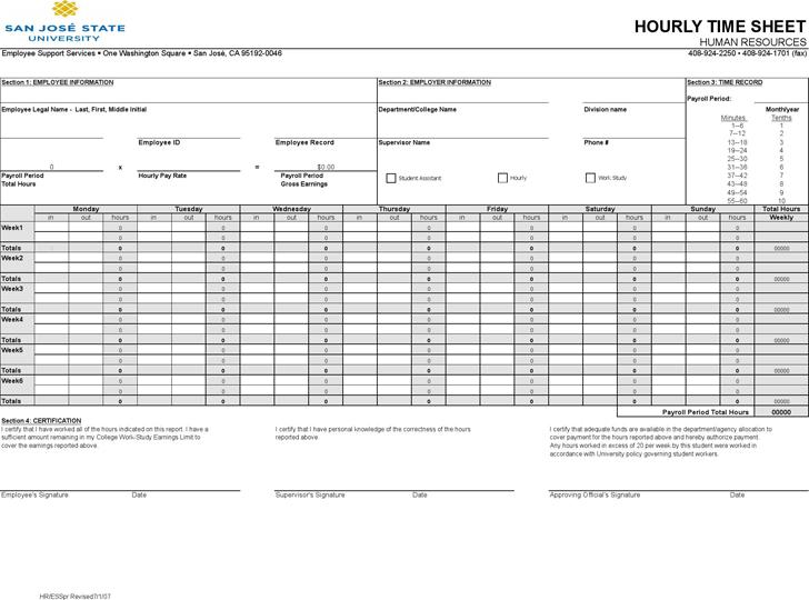 Hourly timesheet template template free download for Hourly employee timesheet template