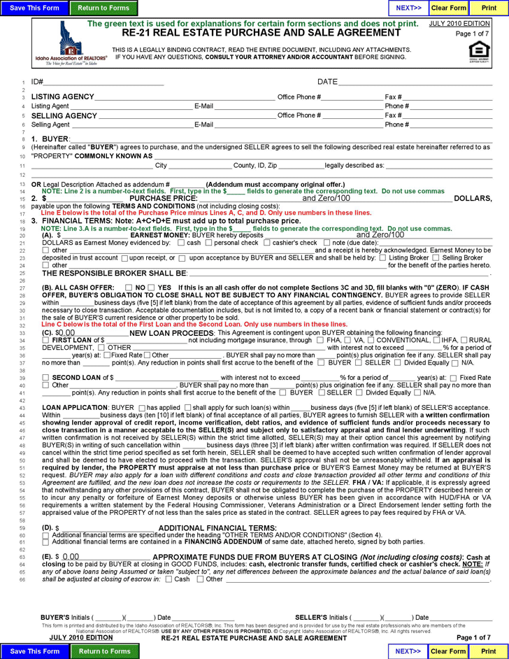 Free Idaho Real Estate Purchase and Sale Agreement Form PDF