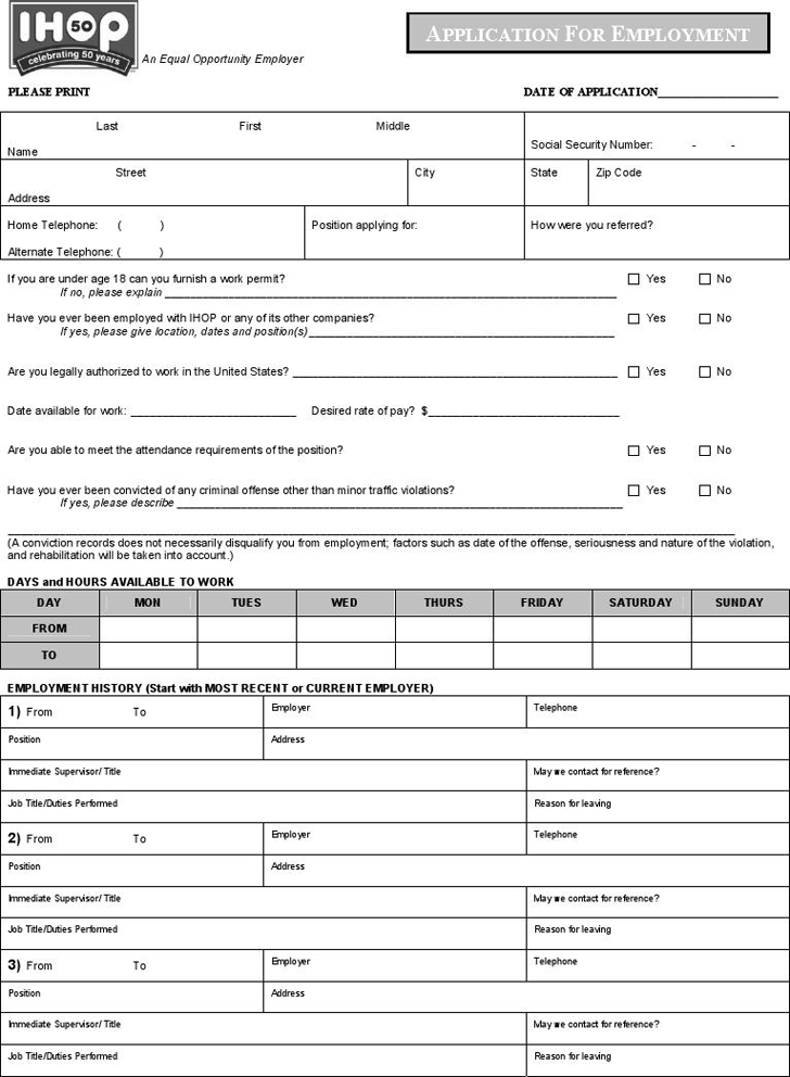 free employment application template download