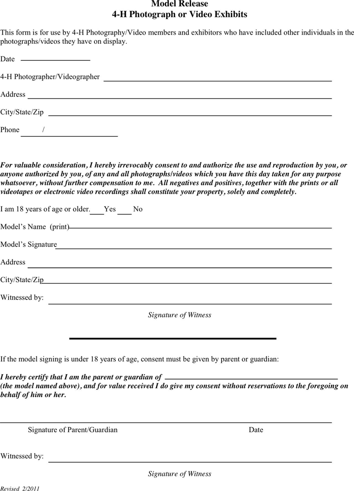 free model release form pdf
