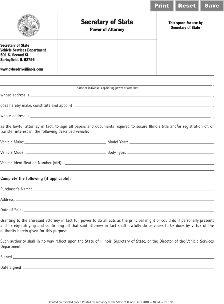 Free illinois vehicle power of attorney form pdf 284kb for Full power of attorney template