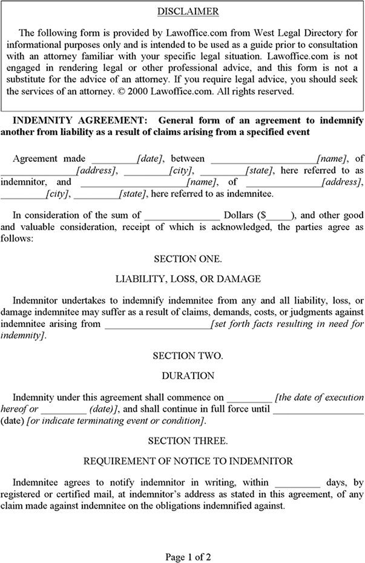 Wonderful Indemnity Agreement Template Images - Example Resume and ...