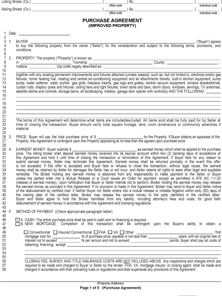 Indiana Purchase Agreement (Improved Property) Form  Free Purchase Agreement Form