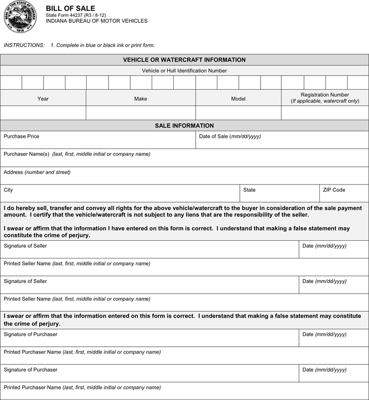 Indiana Vehicle Bill of Sale Form