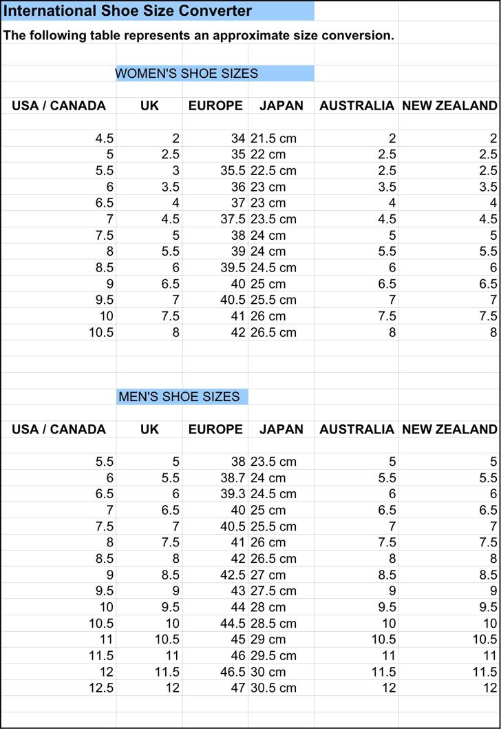 Free International Shoe Size Chart Pdf 12kb 2 Pages