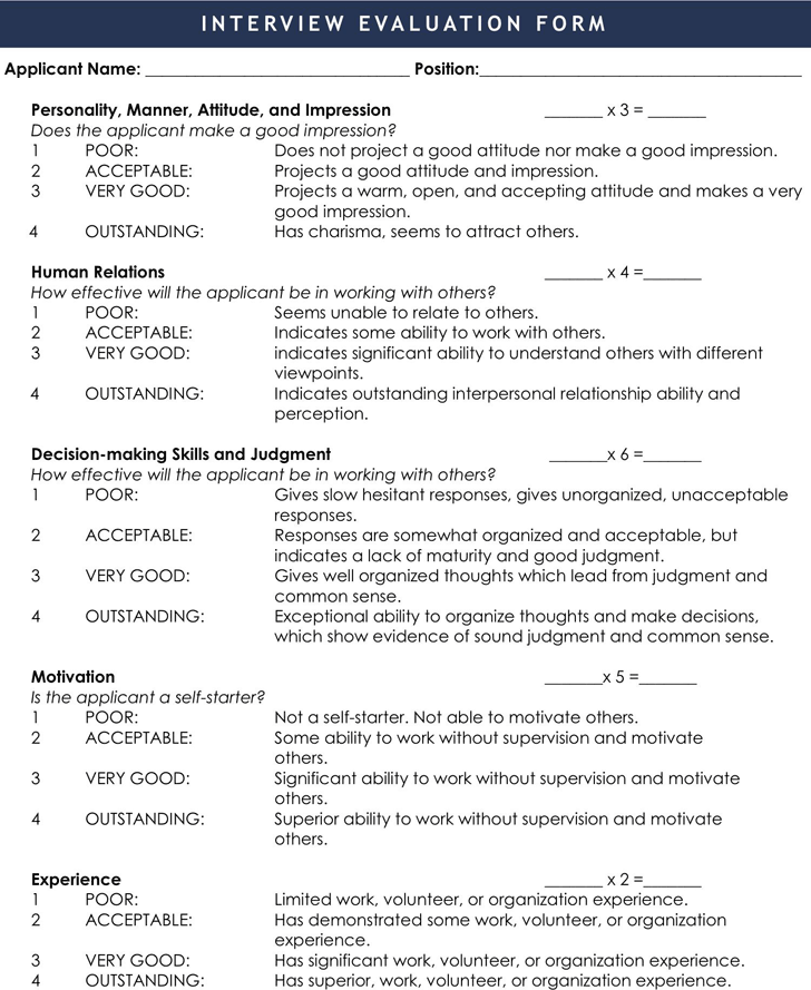 interview evaluation form 2 - Interview Assessment Forms