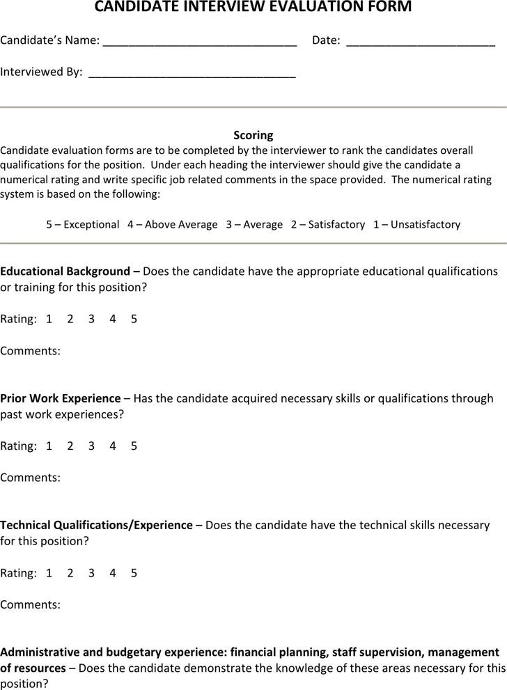 Interview Evaluation Template - Free Template Download,Customize ...