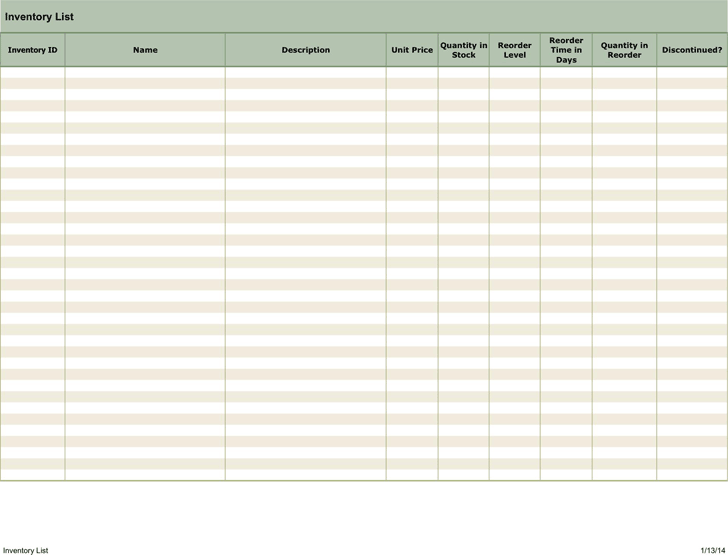 free inventory template xlt 17kb 1 page s. Black Bedroom Furniture Sets. Home Design Ideas