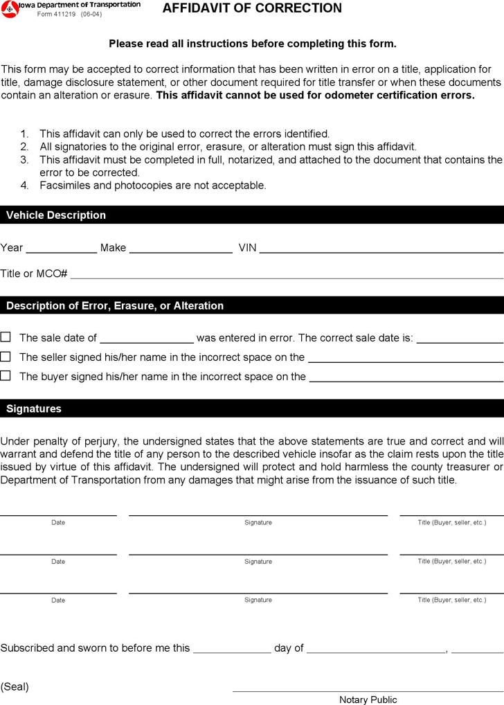 Free Iowa Affidavit of Correction Form - PDF | 10KB | 1 Page(s)
