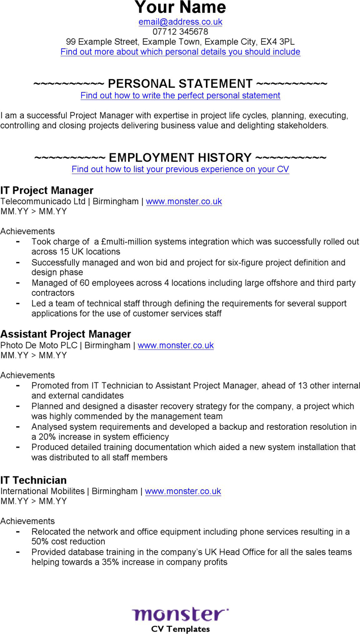Free It Project Manager Cv Template Doc 64kb 2 Page S