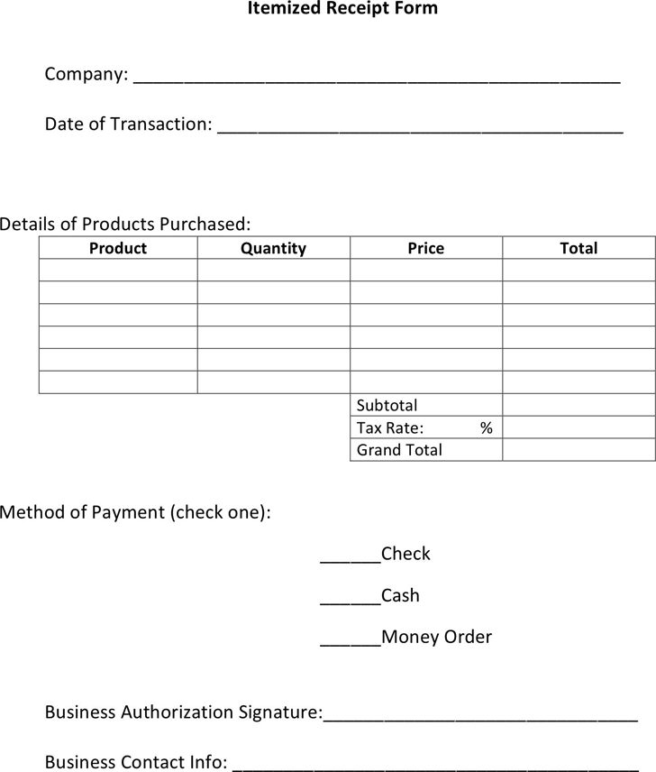 Free Itemized Receipt Template Pdf 32kb 1 Pages