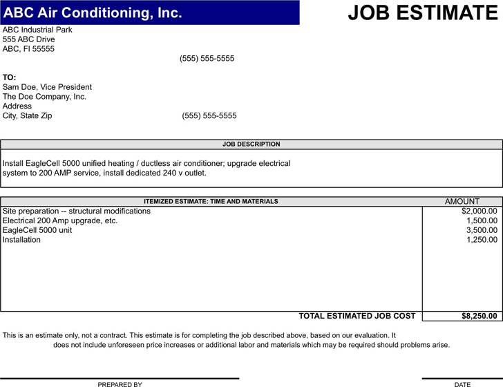 free job estimate template xltx 47kb 1 page s