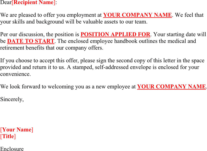 Job offer letter sample template free download speedy template job offer letter sample 2 pronofoot35fo Image collections