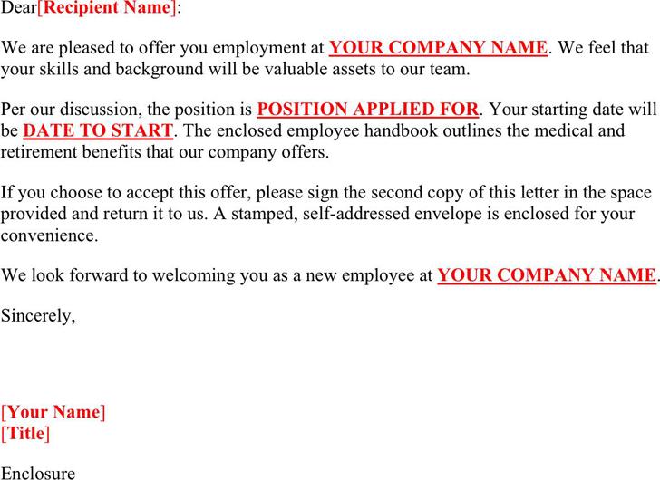Job Offer Letter Sample - Template Free Download