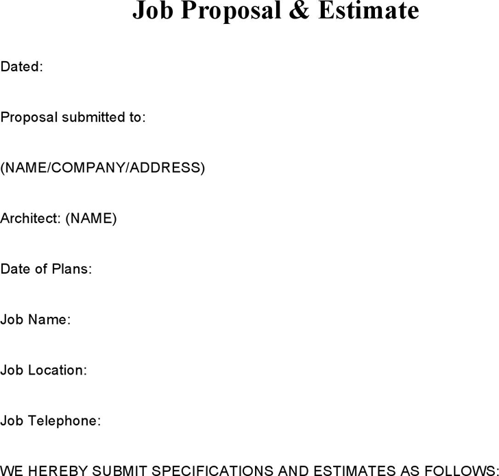 Job Proposal Samples U0026 Estimate  Job Proposal Template Free