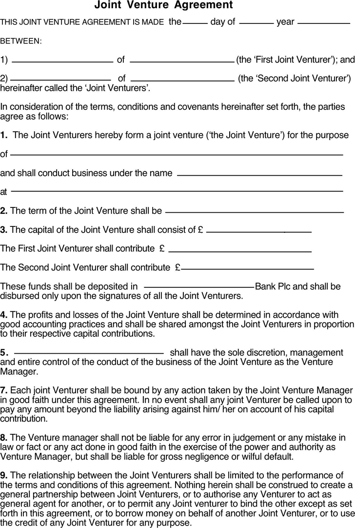 Joint venture agreement template free download speedy template joint venture agreement 1 platinumwayz