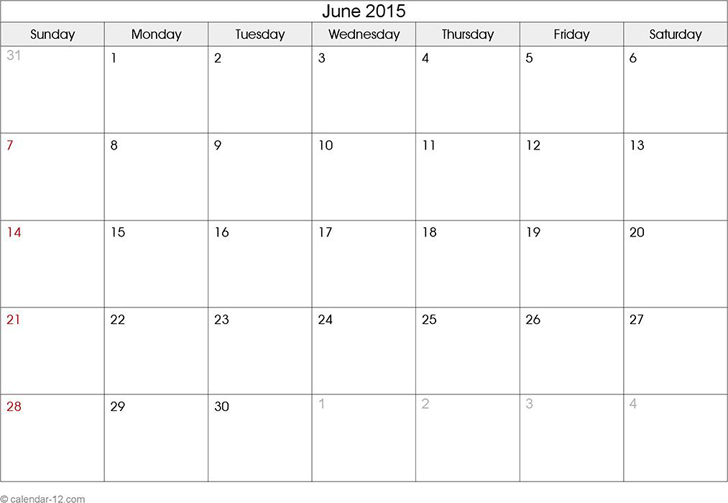 June 2015 Calendar - Template Free Download | Speedy Template