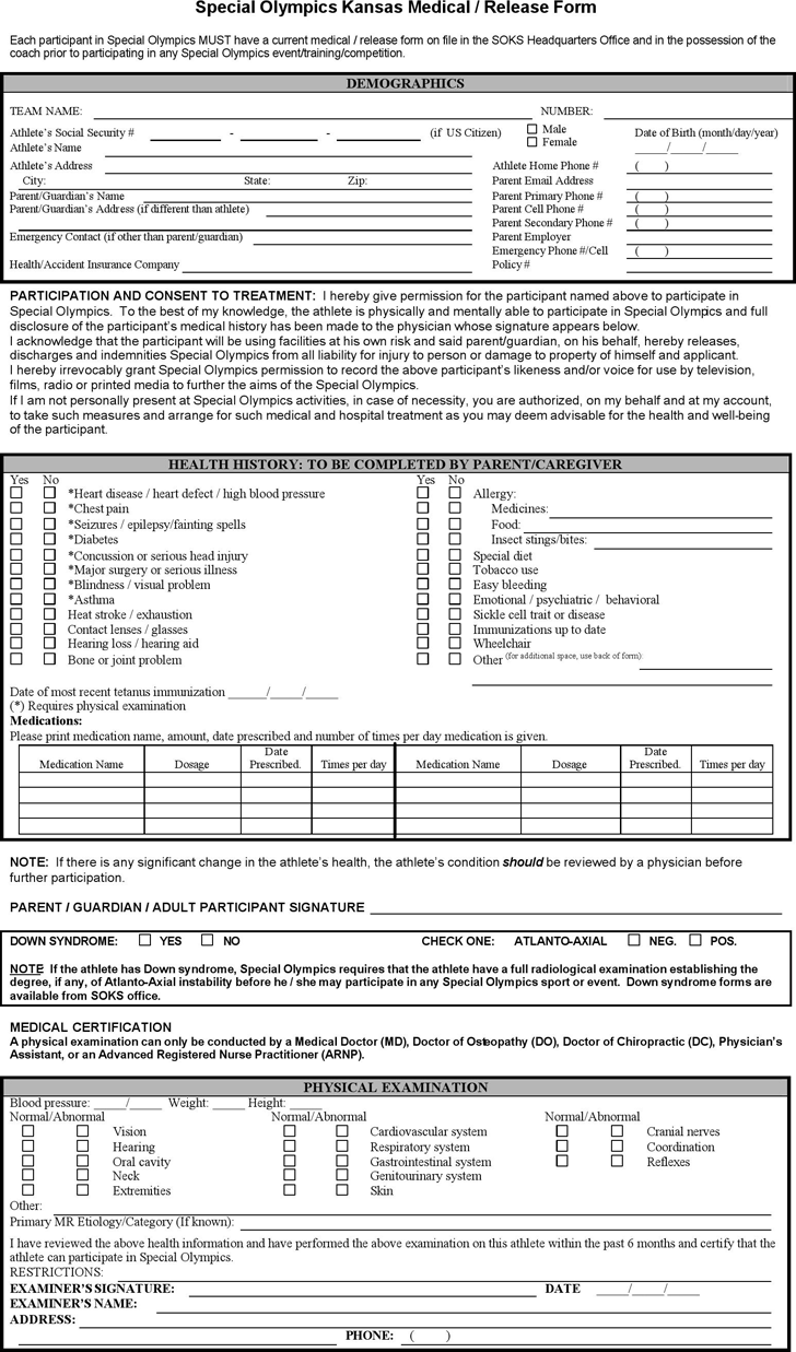 free kansas special olympics medical    release form