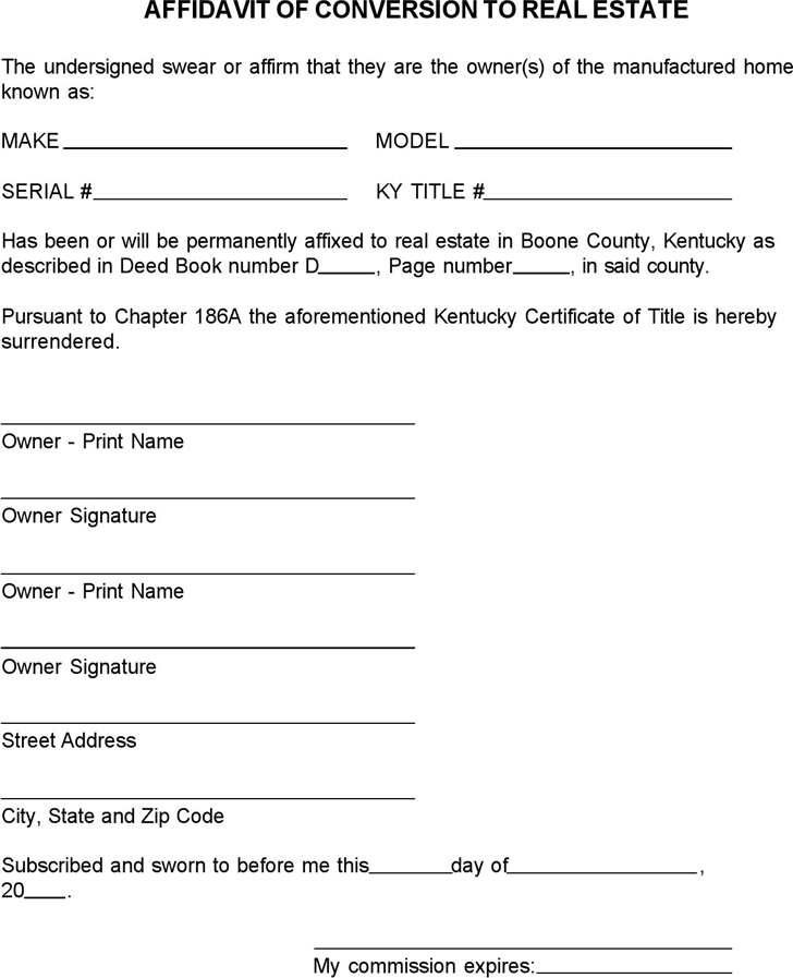 Kentucky Affidavit Of Conversion To Real Estate Form  Affidavit Template Free