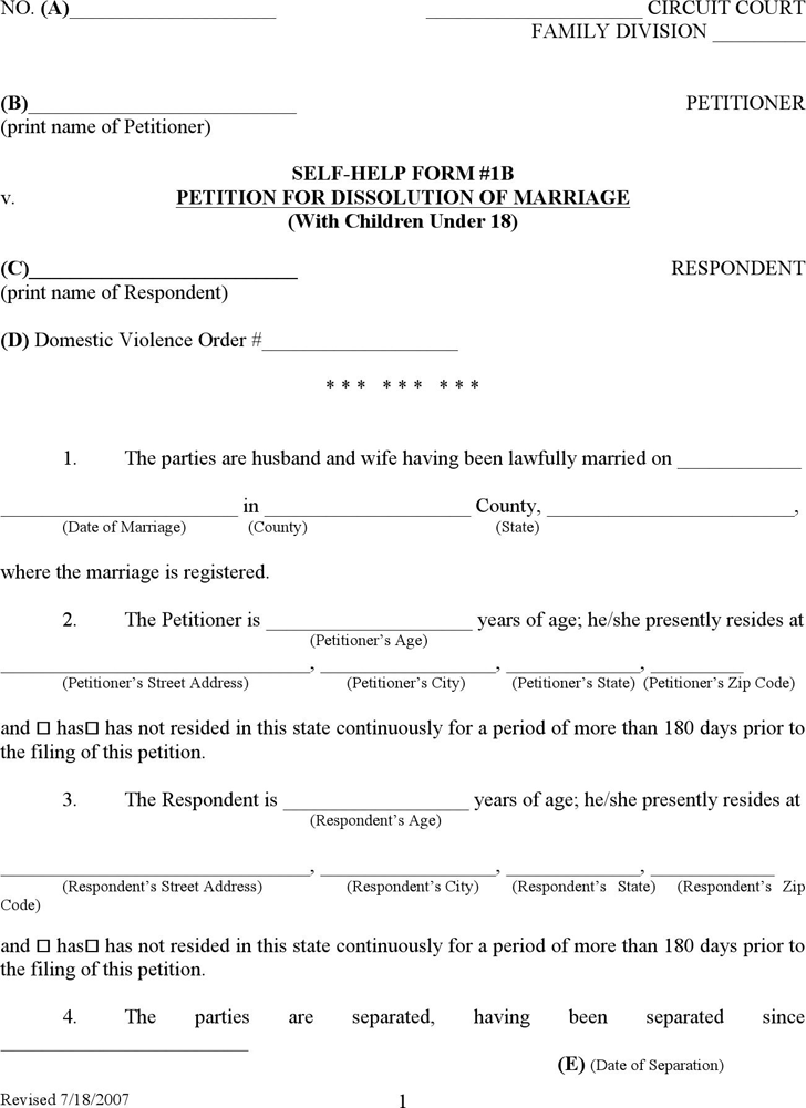 Free Kentucky Divorce Form Doc 208kb 58 Page S