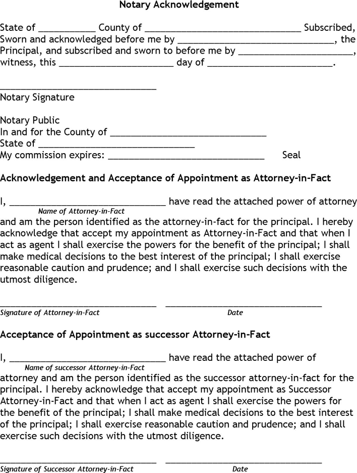 Free Kentucky Medical Power Of Attorney Form Pdf 111kb 6 Page
