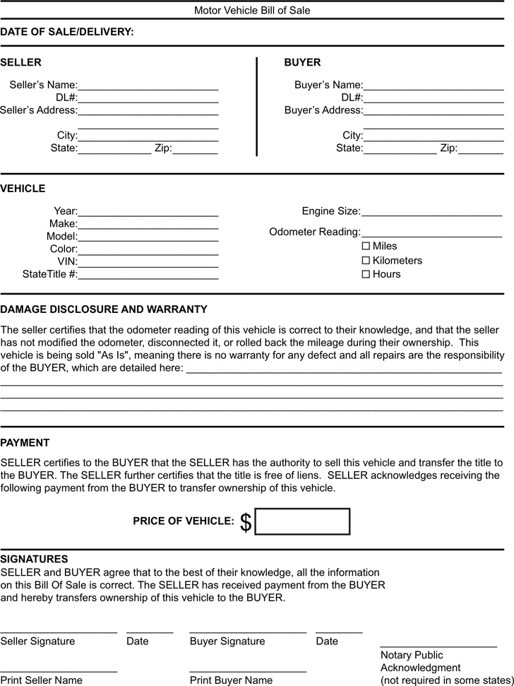 Kentucky Motor Vehicle Bill of Sale Form