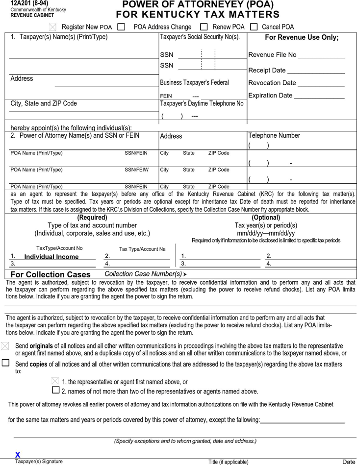 kentucky revenue cabinet free kentucky tax power of attorney form pdf 52kb 1 18068