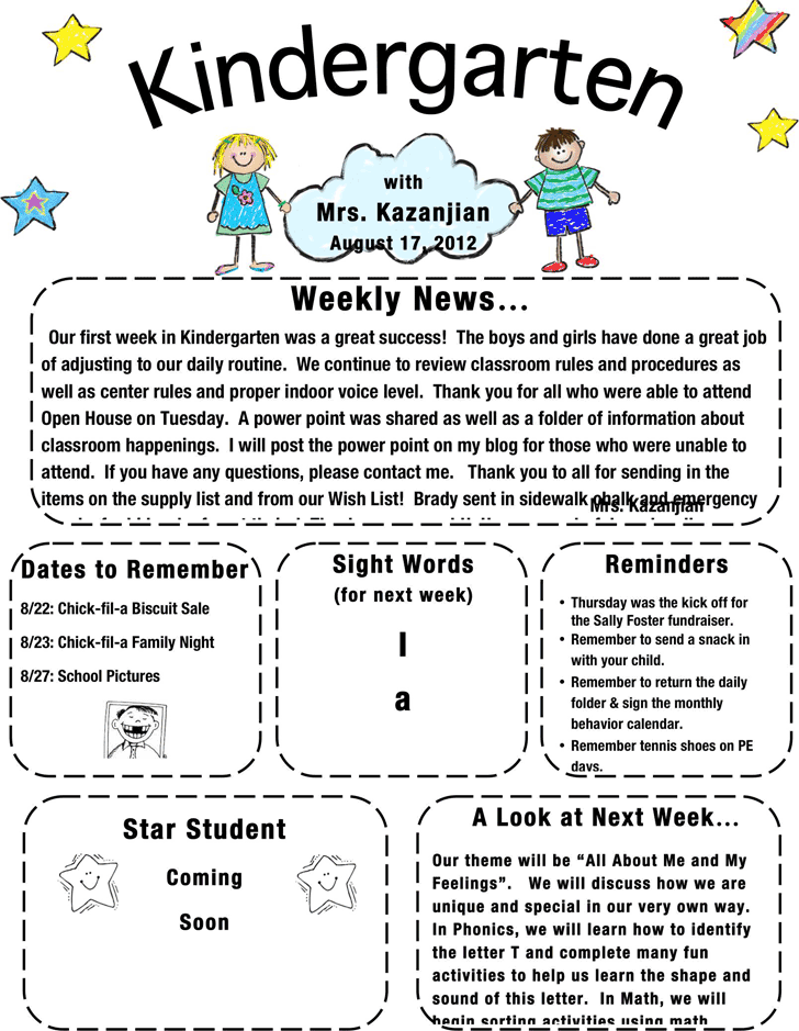 free kindergarten newsletter template docx 413kb 1 page s