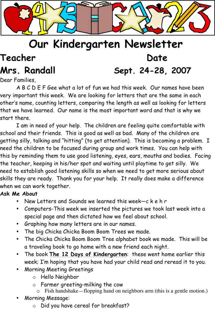 free kindergarten newsletter template doc 42kb 2 page s