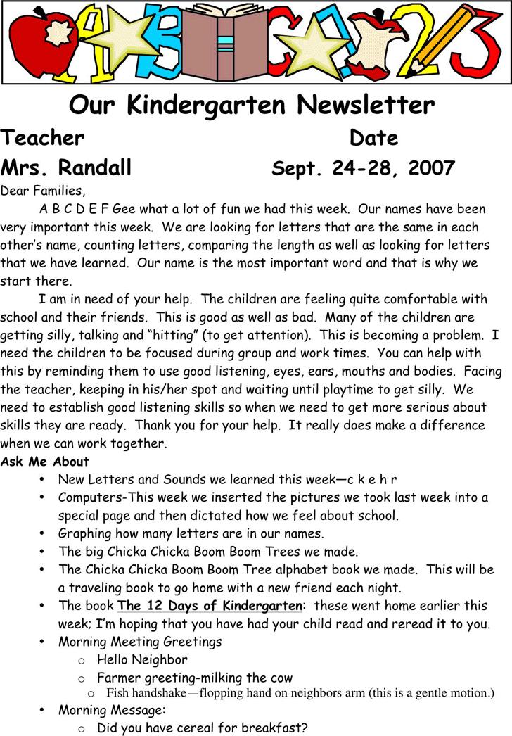 kindergarten newsletter