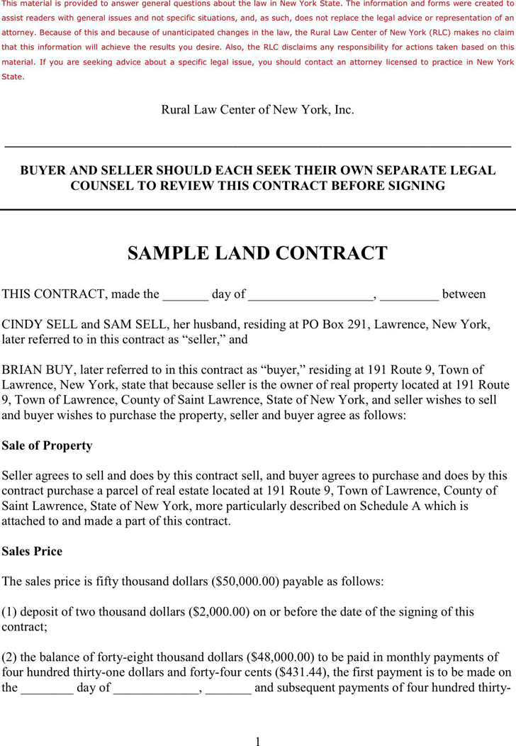 Land Contract Template 2