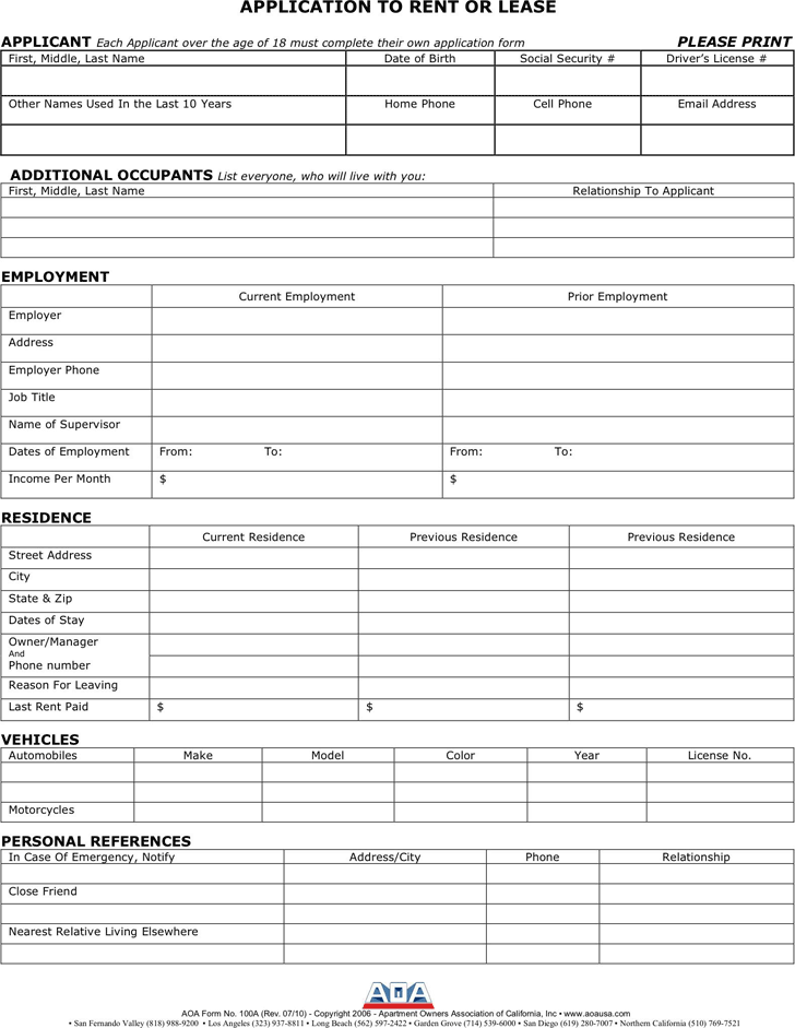 Lease Application Template 2