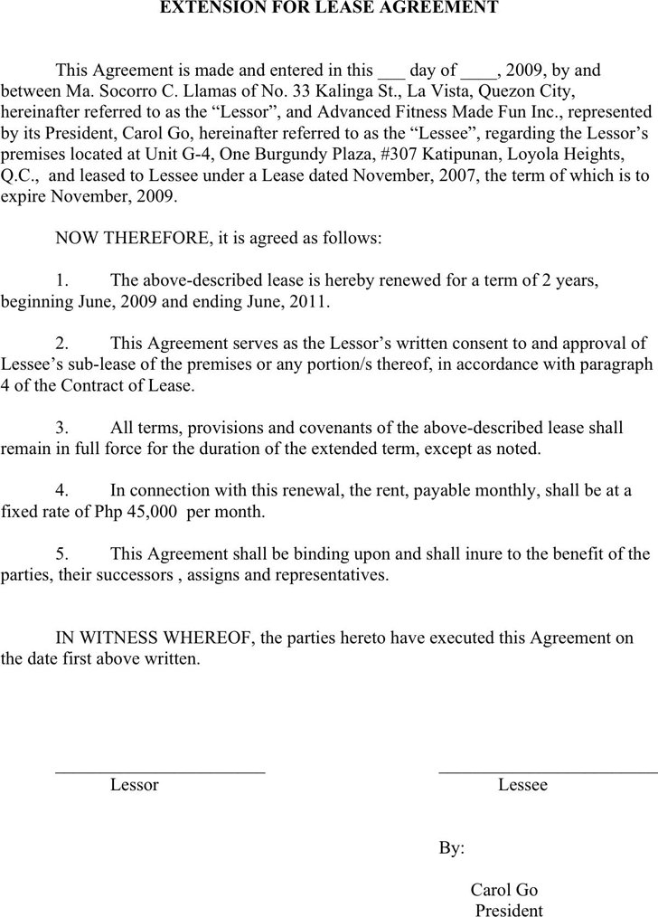 Free Lease Extension Agreement Doc 29kb 2 Page S