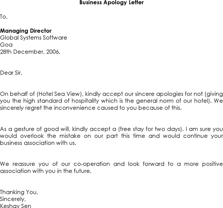 Business Apology Letter - Template Free Download | Speedy Template